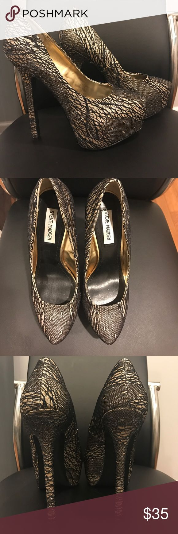 Steve Madden Pumps! Black and Gold Lace. Size 8. Never worn outside, so they are Brand New. Small scuffs on bottom sole. Very comfortable! Steve Madden Shoes Heels