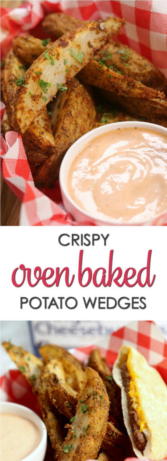 This Crispy Potato Wedges recipe is the perfect companion for burgers! The potatoes are coated in seasoning and baked to crispy perfection. via @itsakeeperblog
