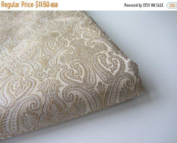 CYBER MONDAY SALE Heavy Bridal Gold Indian silk brocade fabric nr 427 for 1/4 yard - fat quarter