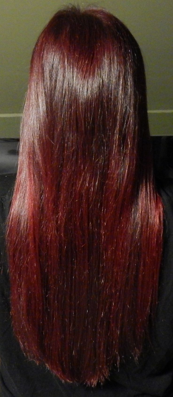 Manic Panic Vampire Red. It comes out a purply red on dark brown hair. I love it! Plus it's real easy to do :)