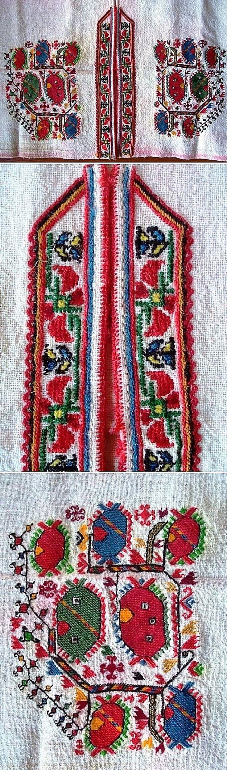Traditional embroidery on a female chemise.  Samokov region (western Bulgaria), ca. 1900.
