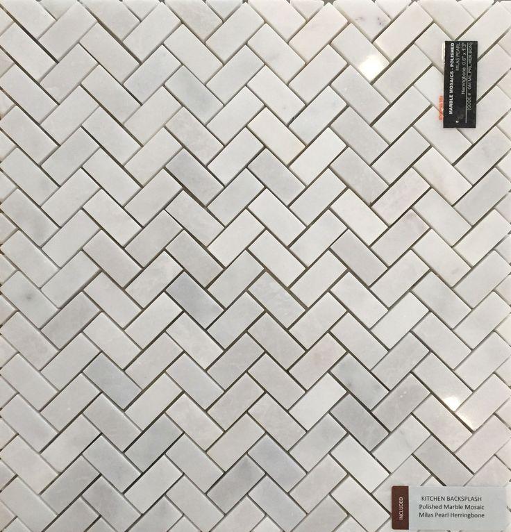 Included Kitchen Backsplash Tile - Polished Marble Mosaic - Milas Pearl Herringbone