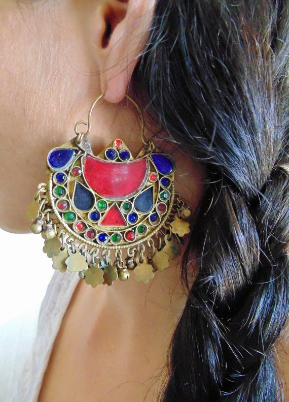 Vintage Tribal Kuchi Earrings by 7SISTERStradingco on Etsy