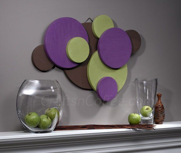 Love this DIY Wall Art made with discs of Styrofoam! Really lightweight & easy to hang, too.
