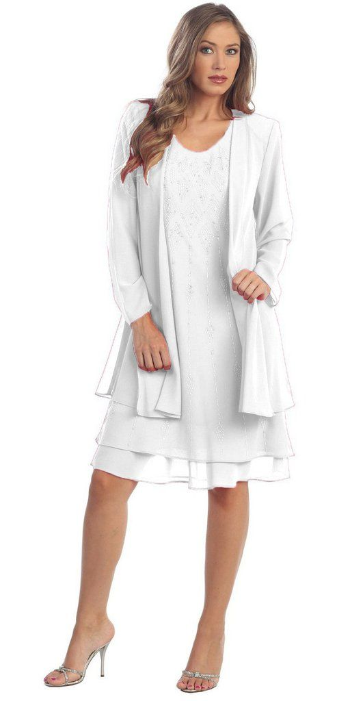 White Dress Knee Length Long Sleeve Cardigan (3XL) Sale for only $59.99 #discountdressshop #cardigan #saledress #formaldress #formalwear #shortdress #whitedress