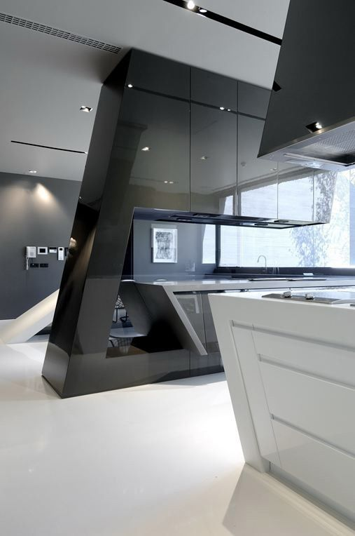This kitchen pushes the boundaries of design with its futuristic angles.