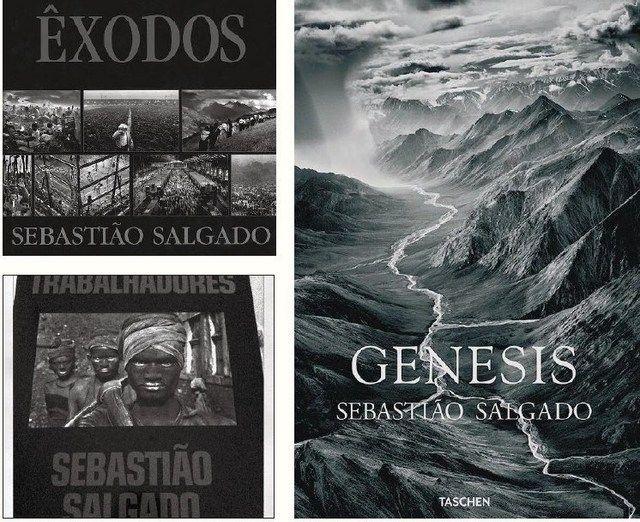 Capas de alguns dos livros de Sebastião Salgado