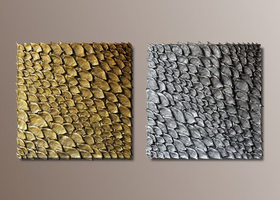 set of 2 large wall sculptures square wall decor 3d wall art golden and silver wall panels textured wall art wall