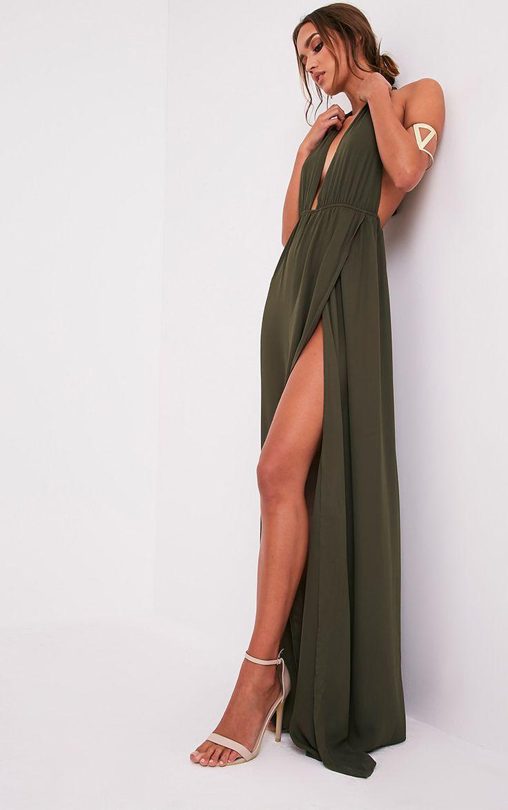 Alina Khaki Plunge Maxi Dress