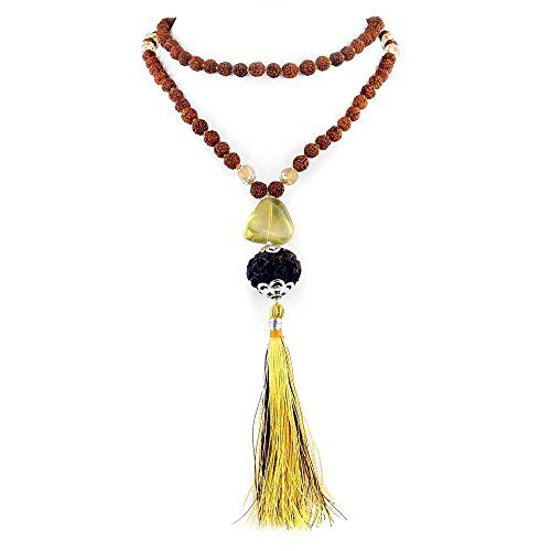 This is a five mukhi rosary beads necklace with a seven mukhi guru bead. The necklace has been designed in such a way that a 15mm genuine lab certified seven faceted Rudraksha has been used as a Guru bead. A yellow silk tassel hangs below. You can use this rudraksha mala for offering prayers and subsequently wear it as a necklace during the day to feel positive energy. 7 mukhi Rudraksha is the symbol of Anang shiva. It blesses Good health and wealth to the wearer. Those who are suffering…