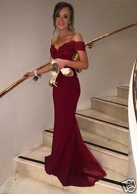 Burgundy Mermaid Evening Dresses Boat Neck Open Back Cap Sleeve Prom Party Gown