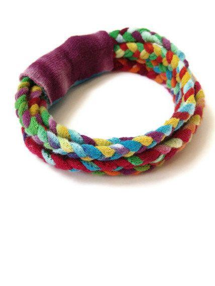 Upcycled/Recycled Tshirt Bracelet - Tie Dye T-shirt Yarn - Braided Multi-Strand Cotton Eco-Friendly. $5.00, via Etsy.