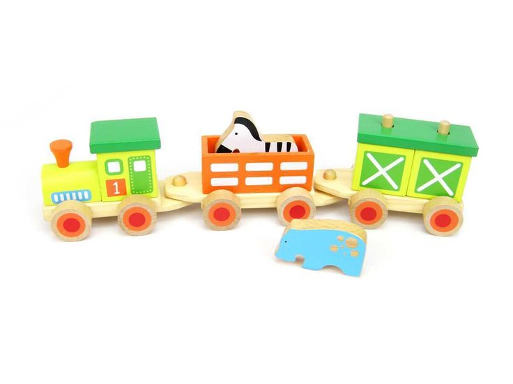 A beautiful wooden animal train set for kids!