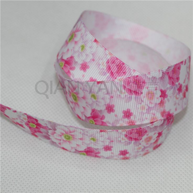New Hot 25mm high density thermal transfer pink flowers ribbon grosgrain ribbon Free shipping 5 yards.For wedding decoration