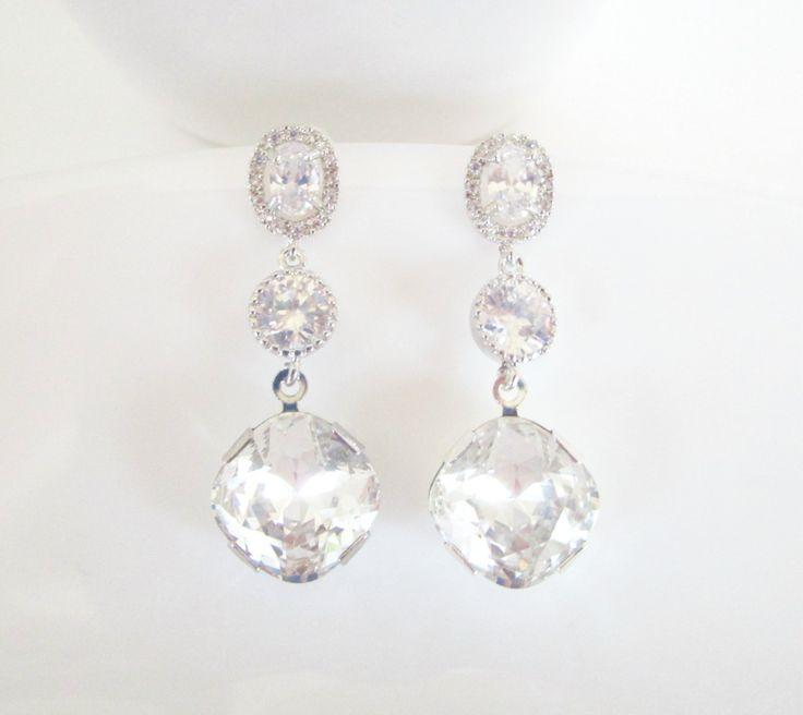 Crystal Bridal Earrings,Cubic Zirconia Earrings,Statement Earrings,Diamond Earrings,Crystal Drop Earrings,Swarovski Crystal Earrings by Uniquebeadables on Etsy