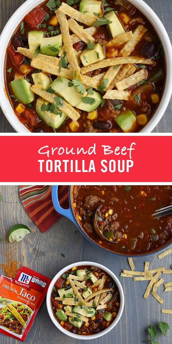 Taco Seasoning Mix, a zesty blend of authentic Mexican seasonings, brings south-of-the-border flavor to this easy tortilla soup recipe. Serve with your family's favorite taco-toppings like avocado and shredded Cheddar.