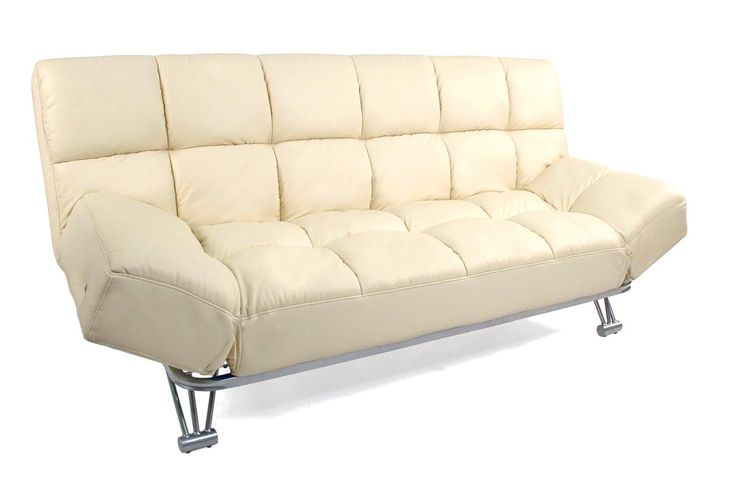 Canapé convertible cuir beige 3 places Manhattan - Miliboo