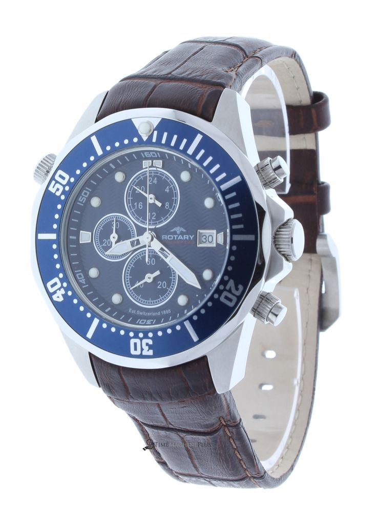 Rotary AGS00070/C/05 Men's Watch Aquaspeed Blue Dial Chronograph GMT Brown Leather Strap