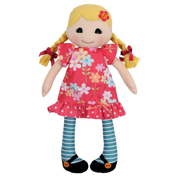 Beautiful Daisy rag doll by Tiger Tribe! Hand-crafted rag doll made from lovely soft cottons with gorgeous little dress and stockings.