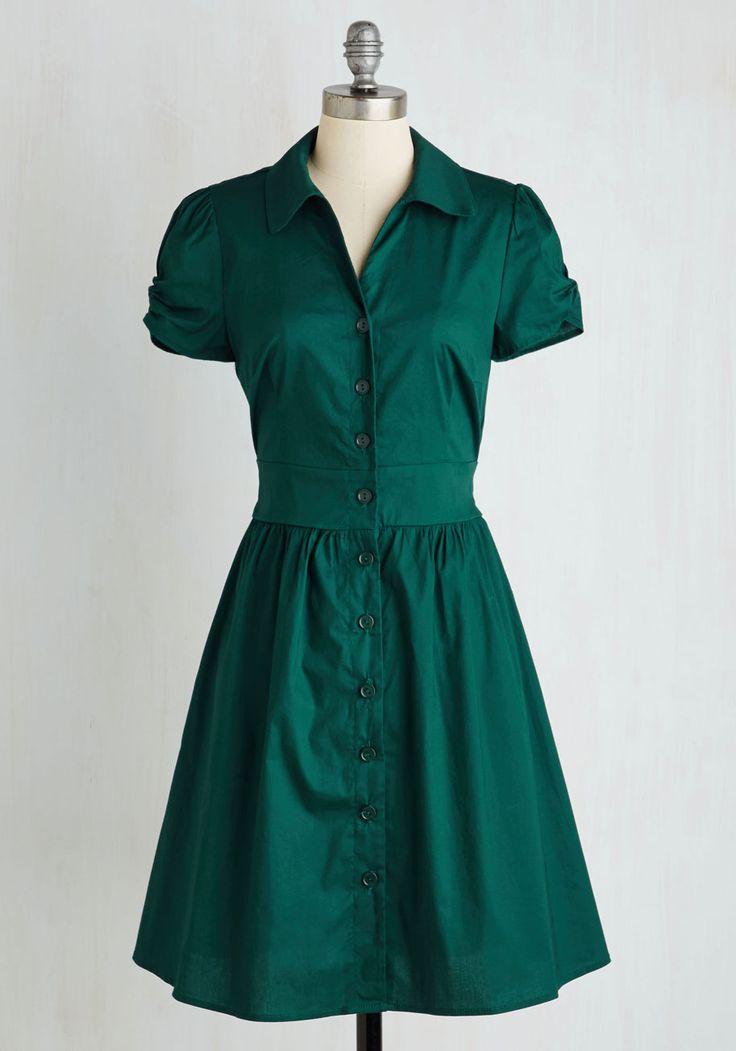 Summer School Cool Dress in Forest Green