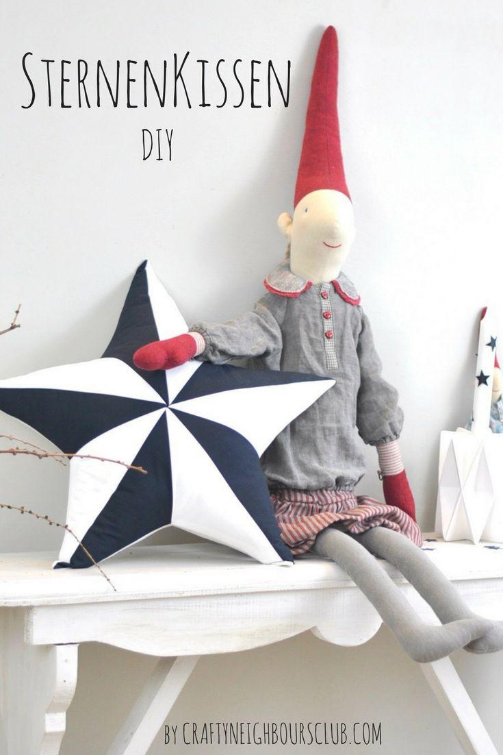 DIY Kissen. Dieses Sternenkissen könnt ihr selbernähen. Die Anleitung findet ihr auf Craftyneighboursclub.com #kissen #anleitung