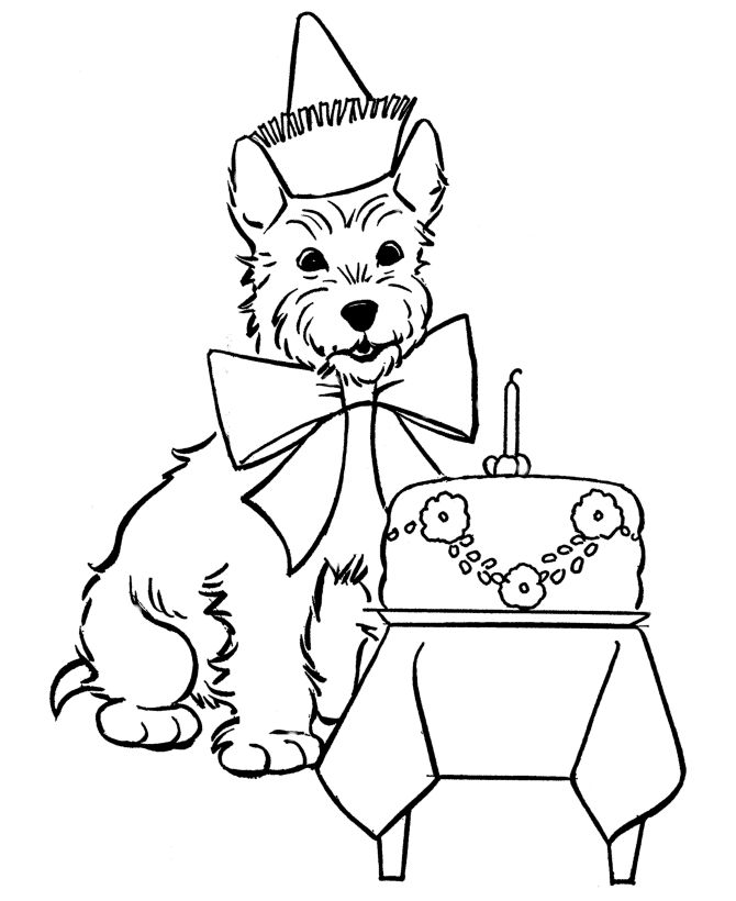 scottish terrier birthday dog coloring page source honkingdonkeycom - Color Book Page