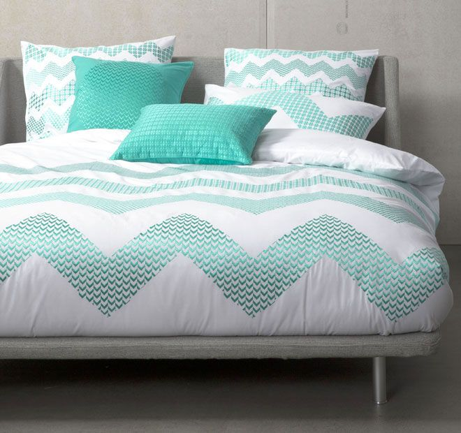 Zig Zag Teal KAS ROOM  Features: Cotton 250 thread count Embroidered - #quiltcovers