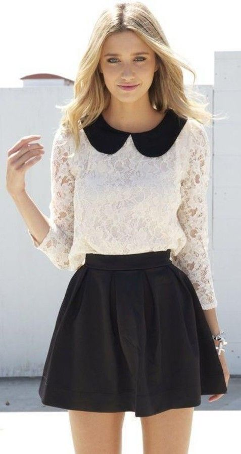 skirt, collared dress, skater skirt, blouse, black and white, black, white