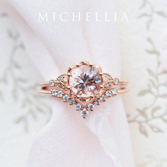 Vintage Floral Ring in Morganite Leaf Morganite Engagement | Etsy