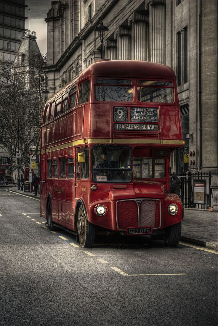Red car with flames of fire hdr creme - London Routemaster Heritage Route 9 Photo Romance Of London Hdr By