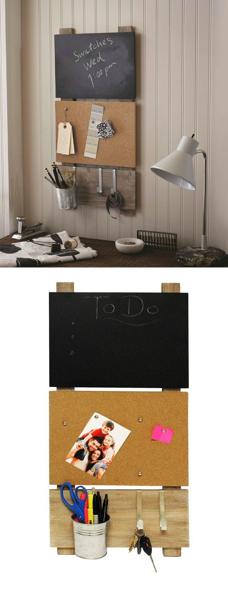 Organize your dorm with this handy all-in-one Bulletin Board with Chalkboard and Hooks! | Dorm Room Decor Ideas | College Student Organization Ideas | Dorm Room Decorations | Chalk and Cork Board | Key holder | Chalk Board