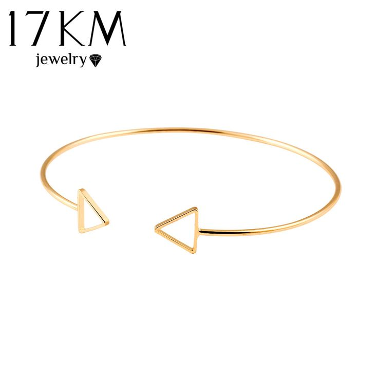 17KM Trendy Geometric Double Triangle Bangle Alloy Gold Color Classic Bangles Fashion Jewellery Design Opening Men Women