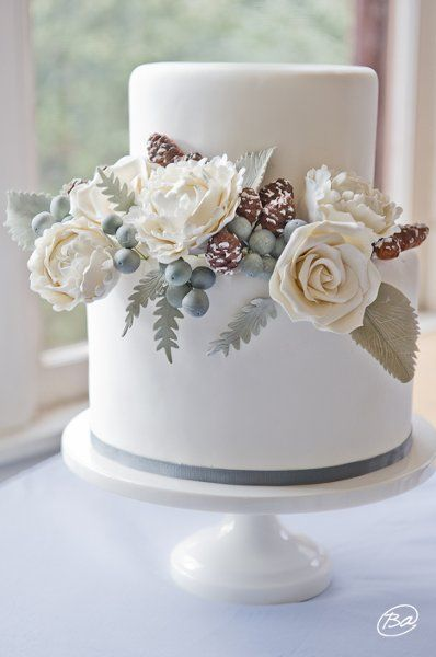 Shabby Chic Vintage Brown Green Silver White Round Winter Wedding Cakes Photos & Pictures - WeddingWire.com