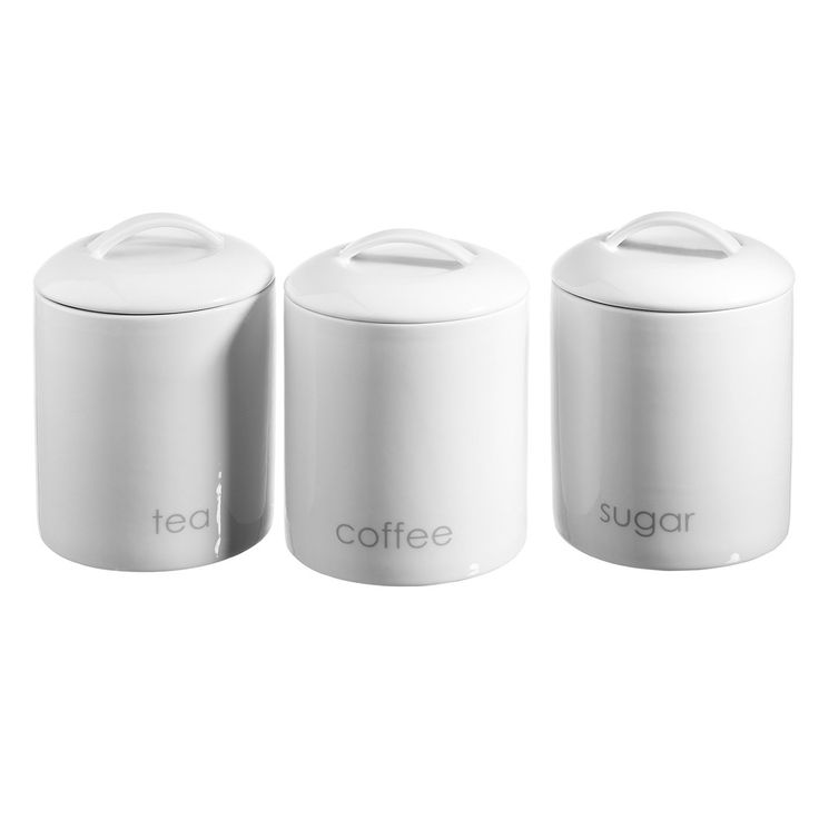 Set of 3 tea coffee sugar canisters ecology on - Coffee tea and sugar canisters ...