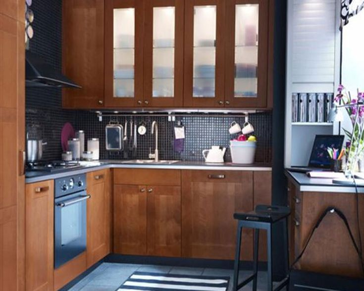Stylish IKEA Kitchen Design Ideas 2012 : SpaceSaving Contemporary IKEA  Kitchen With Black Ceramic Tiles Backsplash Part 82