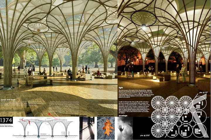 Marek Keppl & Toma Korec: Slovak Republic  Using the parabolic curve and bamboo's natural flexibility, these designers have created a lightweight structure and a pleasant, light filled environment for people to gather. Rainwater runs down the outside surface of the membrane on the conic cylinders and into retaining canals in the foundation.