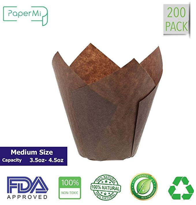 Brown Tulip Cupcake Liners Medium Size Paper Muffins Style Baking Cups Natural Fda Approved Oz Capacity 3 5 To 4 With Images Baking Cups Medium Size Cupcake Liners