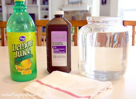 Bleach Alternative:  12 cups water   1/4 cup lemon juice   1 cup hydrogen peroxide     Mix. Add 2 cups per wash load or put in spray bottle and use as a household cleaner.