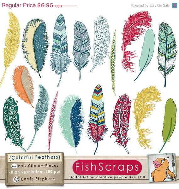 SALE - 40% Colorful Feather Clip Art - ClipArt - Bird Feathers - Digital Illustrations - Fanciful Notions - Instant Download - Commercial U