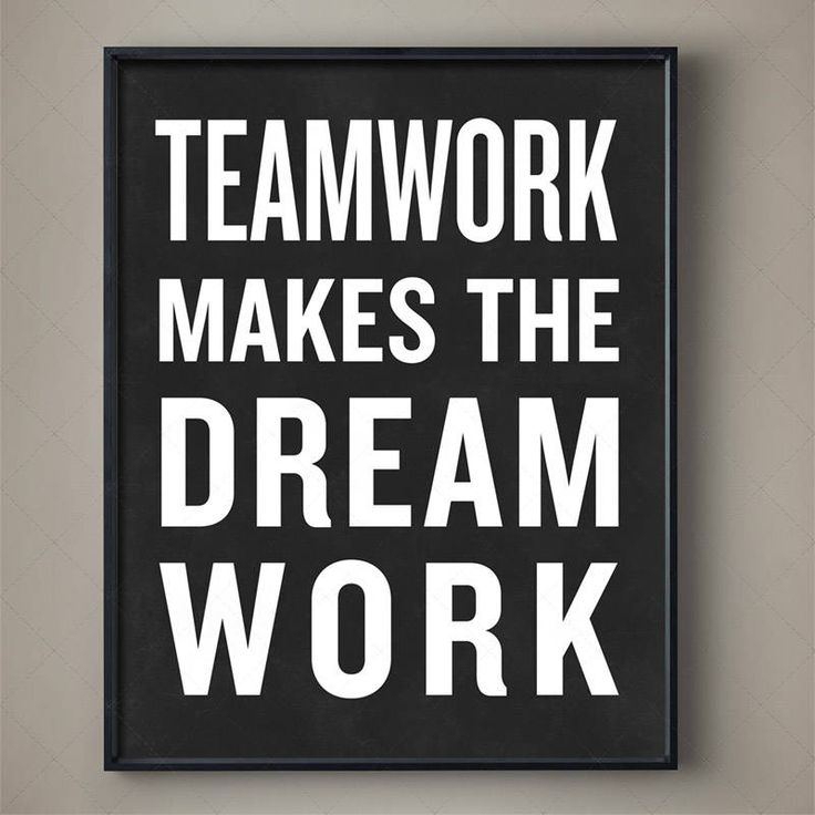 TEAMWORK MAKES THE DREAM WORK Typography Poster #CrossFit