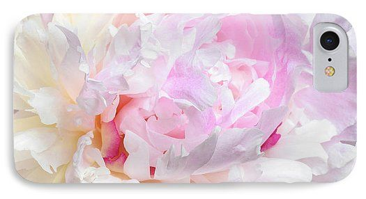 Jane Star IPhone 7 Case featuring the photograph Vanilla-pink Lace by Jane Star  #JaneStar #IPhoneCase #Abstract #Peony #Flower #PalePink