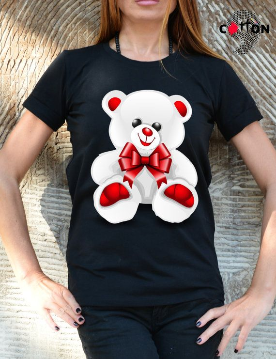 Teddy Bear Cotton Painted Tshirt / Screen Printed Love by Cotton9