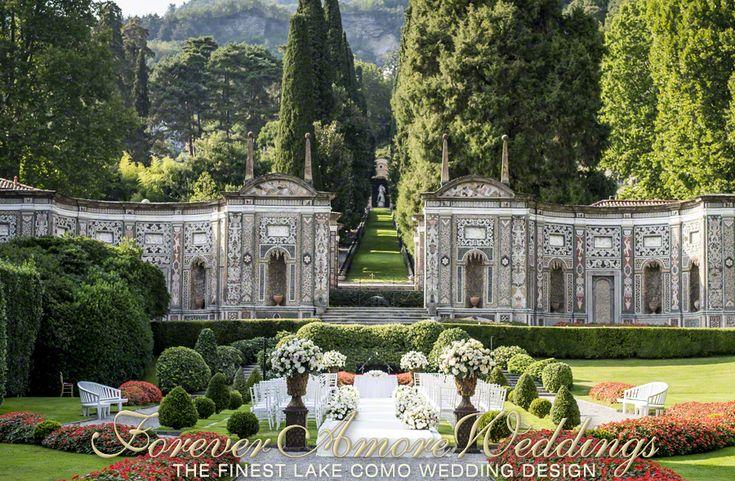 Beautiful wedding ceremony in the Mosaic Garden of Villa D'Este, Lake Como, Italy. Picture by Roland Kollar ©