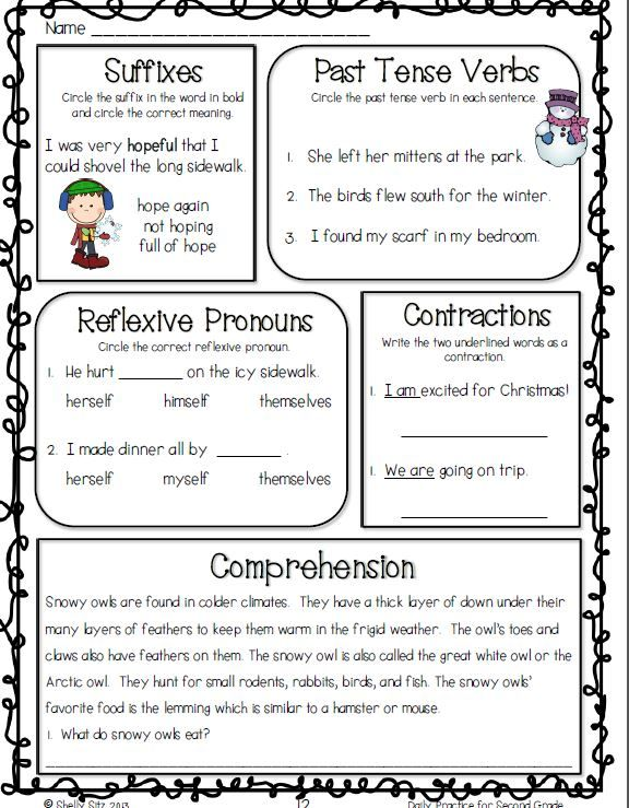 Winter English Language Arts Practice for 2nd grade---great for ...