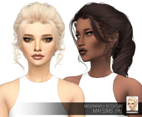 Miss Paraply: May`s 141 hair retextured for Sims 4