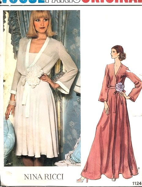 1970s GLAMOROUS Nina Ricci Evening Dress Gown and Slip Pattern VOGUE PARIS Original 1124 Flattering Surplice Bodice Regular or Maxi Length Bust 32 Vintage Sewing Pattern UNCUT