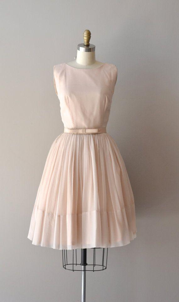 1950's Blush Chiffon Dress