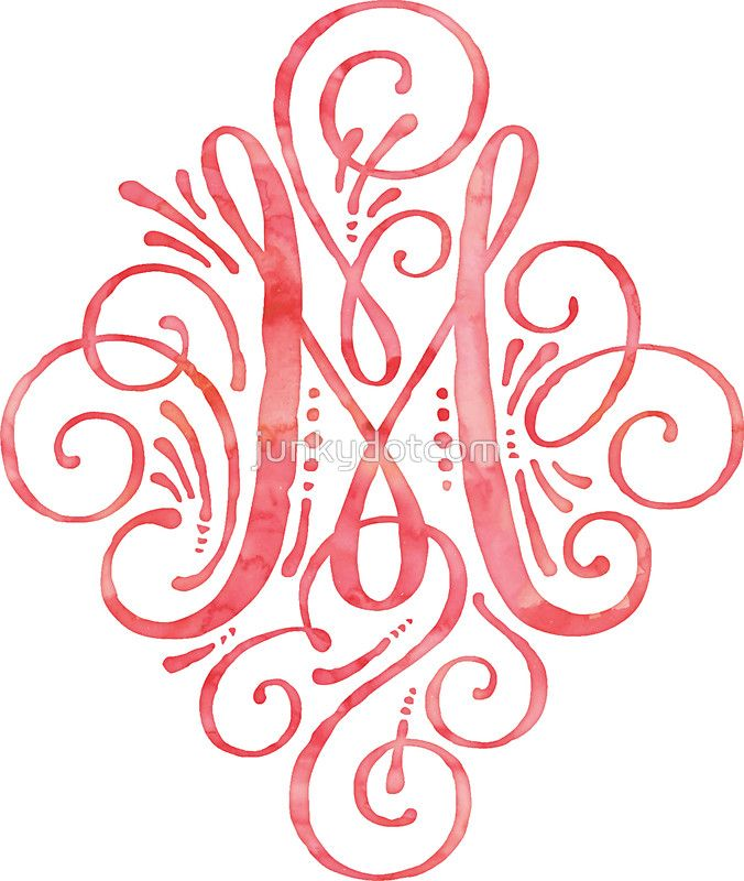 Monogram M Watercolor Typography sticker  @redbubble #junkydotcom Aug 3 2016