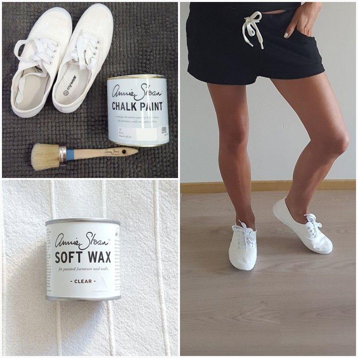 Tummuneet tennarit taas valkoisiksi kalkkimaalilla! #chalkpaint #diy #shoes #anniesloan #teeteeshop