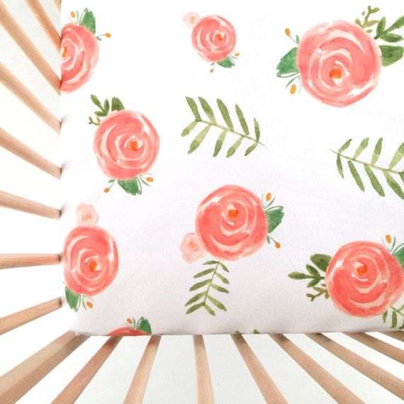 Crib Sheet Soft Floral. Fitted Crib Sheet. Baby by Iviebaby